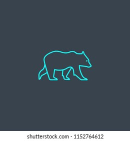 bear concept blue line icon. Simple thin element on dark background. bear concept outline symbol design from Russia set. Can be used for web and mobile UI/UX