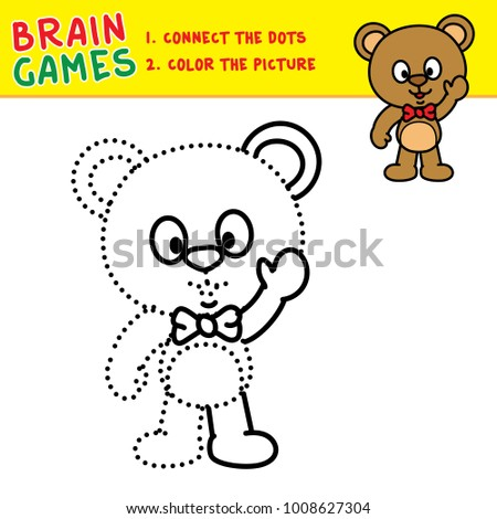 bear connecting dots coloring pages kids stock vector royalty free