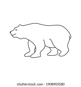 Медведь контур. Bear contour. Vector drawing on an isolated white background.
