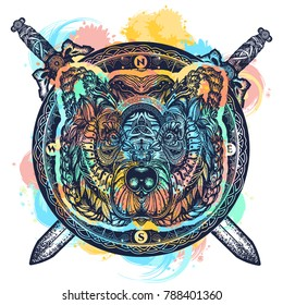 Bear and crossed swords color tattoo and t-shirt design watercolor splash. Symbol of force, wild nature, outdoors