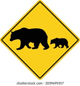 Bear Crossing on white background. yellow road sign attention animal bear sign. Bear warning symbol. flat style.