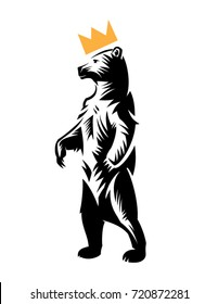 bear in the crown stands on hind legs. Wild animal logo