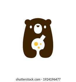 bear cub baby lab logo vector icon illustration