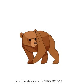 Bear cub frightened. Cartoon character of baby mammal animal. Wild forest creature with brown fur. Vector flat illustration isolated on white background.