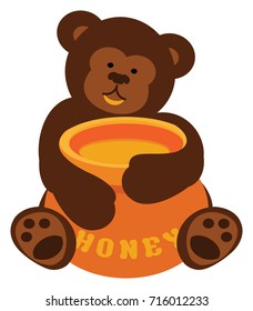 Bear Cub holding a honey pot