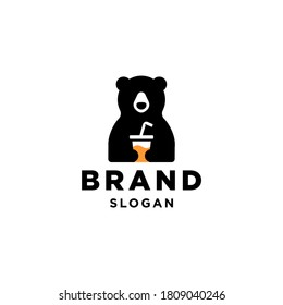 bear and cup logo, bear holding juice drink with straw Mascot cartoon vector icon illustration