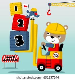 bear the cute forklift driver, vector cartoon illustration
