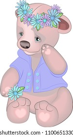 Bear cute toy for girls. Bear cub with a wreath of daisies on his head
