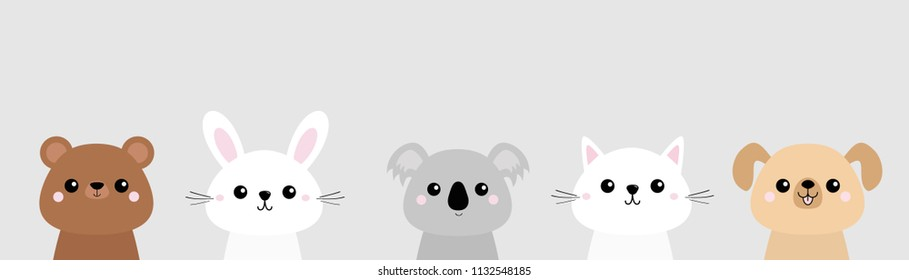 Bear, dog, cat kitten, rabbit, hare, grizzly, koala head face set. Colorful silhouette. Pink cheeks. Cute cartoon character. T-shirt design. Pet animal collection Baby background. Flat design Vector