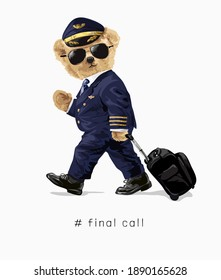bear doll in airline pilot costume with luggage illustration