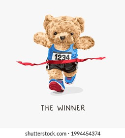 with bear doll boxing athlete with champion belt vector illustration