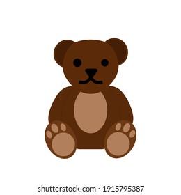 Bear doll flat design isolated.Teddy bear brown color