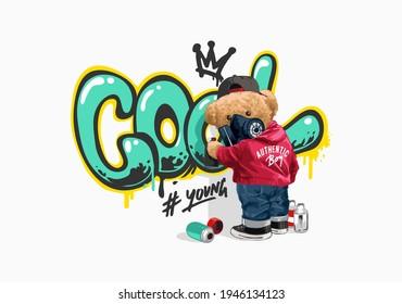 bear doll spraying cool slogan on the wall vector illustration