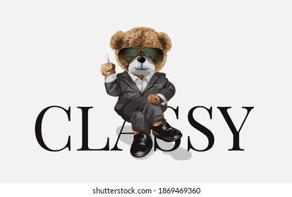 bear doll in suit sitting on classy slogan illustration