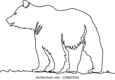 bear. Doodle. continuous sketch. one line