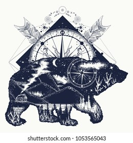 Bear double exposure, compass, arrows tattoo and t-shirt design. Tourism symbol, adventure, great outdoor