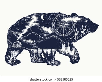 Bear double exposure tattoo art. Tourism symbol, adventure, great outdoor. Grizzly silhouette t-shirt design