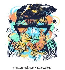 ac0997745daa1 Bear double exposure watercolor splashes style, mountains, compass, tattoo  art. Tourism symbol