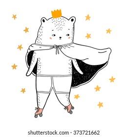 bear drawing - funny vector children illustration