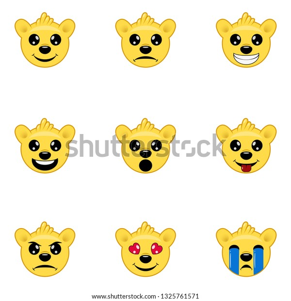 Bear Emoji Icons Set Funny Faces Stock Vector (Royalty Free) 1325761571