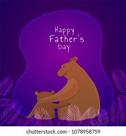 Bear father and son duo on shiny purple background, Happy Father's Day celebration concept.