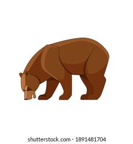 Bear feeding on berries. Cartoon flat vector illustration isolated on white background.