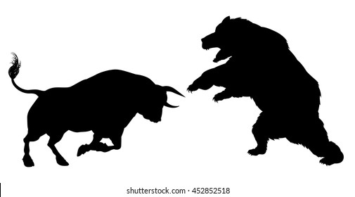 A bear fighting a bull in silhouette
