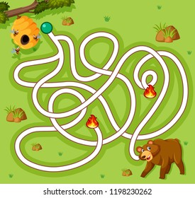 Bear finding honey game template illustration