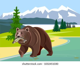 Bear with fish in his mouth against the background of mountains. Vector illustration