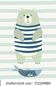 Bear with fish in Scandinavian style. Vector illustration. Funny, cute poster.