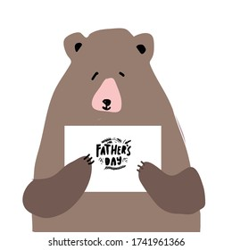 Bear. Flat illustration. Father's Day card.