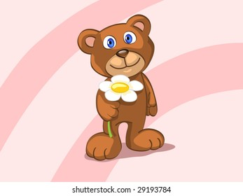 bear with flower (editable layers)