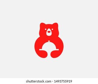 Bear food logo icon design abstract modern minimal style illustration. Cafe restaurant vector emblem sign symbol mark logotype