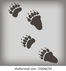 Bear footprint. Vector illustration.