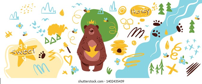 Bear in forest hand drawn map vector background. Honeycomb, river, wild animal footprints doodles set. Eco, natural honey farm flat illustration. Cute grizzly character in woods children drawing