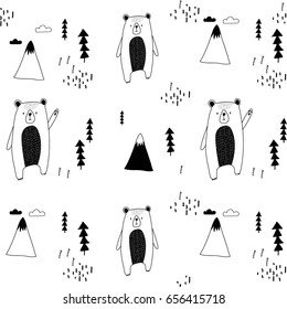 bear and forest illustration pattern.Black and white.
