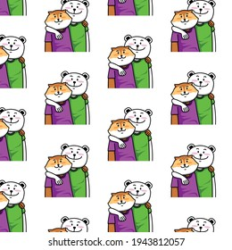 bear  and  fox  friends  pattern background design vector eps.10