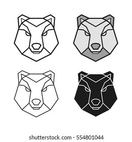 Bear geometric head vector set
