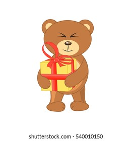 bear with a gift in hands on white background.
