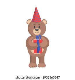 bear with a gift in its paws and a cap on its head. Flat style vector illustration isolated on white background. birthday bear.