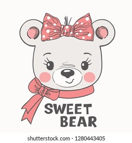 Bear girl face with bow. Cute cartoon vector illustration design for t-shirt graphics, fashion prints, slogan tees