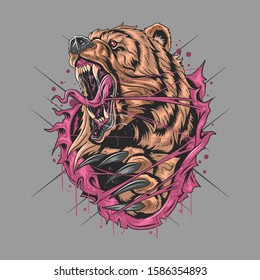 BEAR GRIZZLY ANGRY V ARTWORK ECTOR