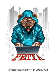 Bear hacker/programmer Petya in hoodie working on the computer. Isolated on white background. Runs a computer virus. Vector illustration.