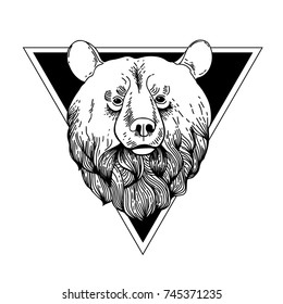 Bear Hand Drawn Graphic.Bear Head Logo Mascot Emblem isolated on white background.Tattoo symbol with geometry frame. Print, poster, t-shirt. textiles. Vector illustration art. Vintage engraving style.