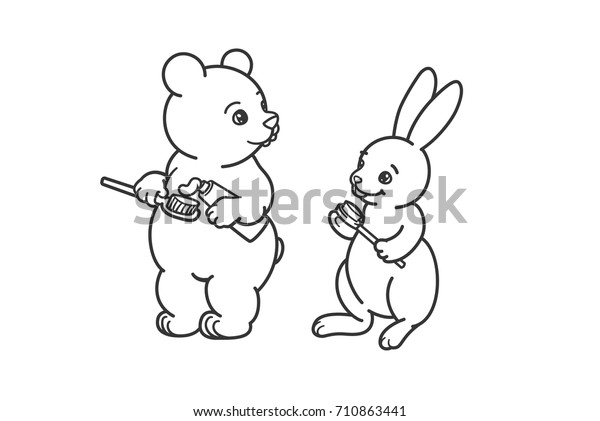 Bear Hare Brushing Their Teeth Coloring Stock Vector ...