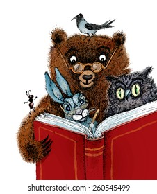 Bear, hare, owl, crow and ant read the book.Vector cartoon illustration for children