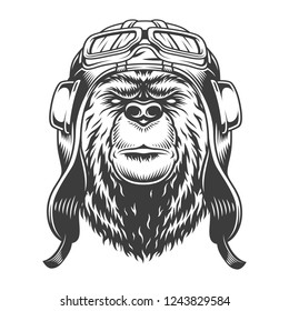 Bear head in helmet and goggles in vintage monochrome style isolated vector illustration
