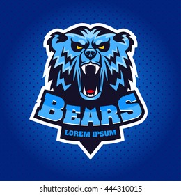 Bear Head Logo Mascot Emblem on shield. Talisman college sports teams, e-sport, school logo, tattoo, avatar, print t-shirt. The design of the character of a wild grizzly. Vector illustration.