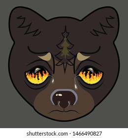 Bear head looks on the forest fire. Siberia burns. Vector illustration