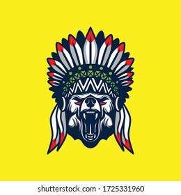 Bear head native american illustration.